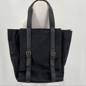 Big Buddha Black Calf Hair Tote Shoulder Bag